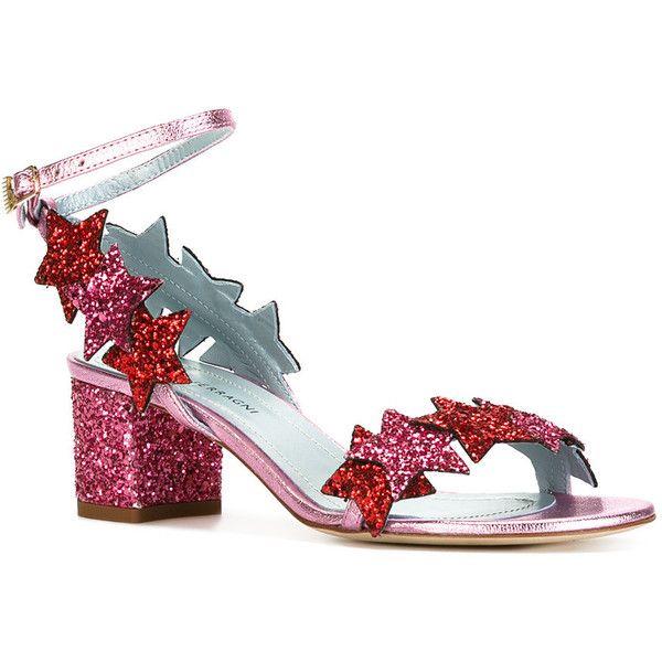 Chiara Ferragni glitter stars sandals ($615) ❤ liked on Polyvore featuring shoes, sandals, chiara ferragni, glitter sandals, glitter shoes, chiara ferragni shoes and star shoes