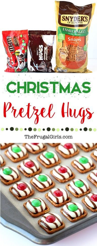 Christmas Pretzel Hugs Recipe! ~ at TheFrugalGirls.com ~ Go grab some Hershey Hugs and M&Ms... your family and guests will crazy over these easy little dessert bites!  #recipes #thefrugalgirls