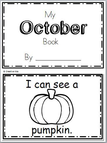 """Free October Book for Kindergarten Practice reading the words """"I can see a…"""" There are 10 pages in this October book. You can print and use all the pages or just the ones that yo…"""