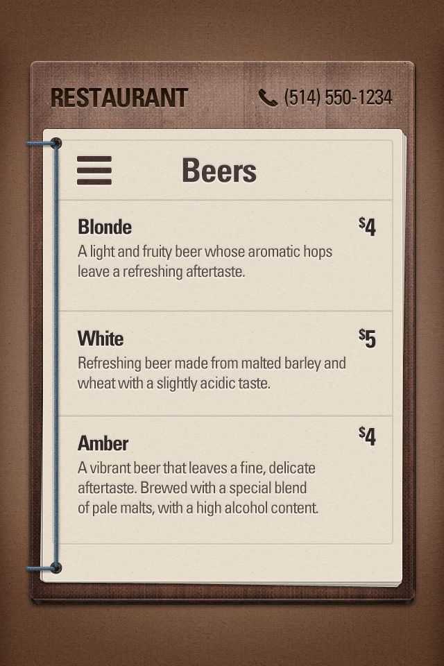 Beer menu | #ui