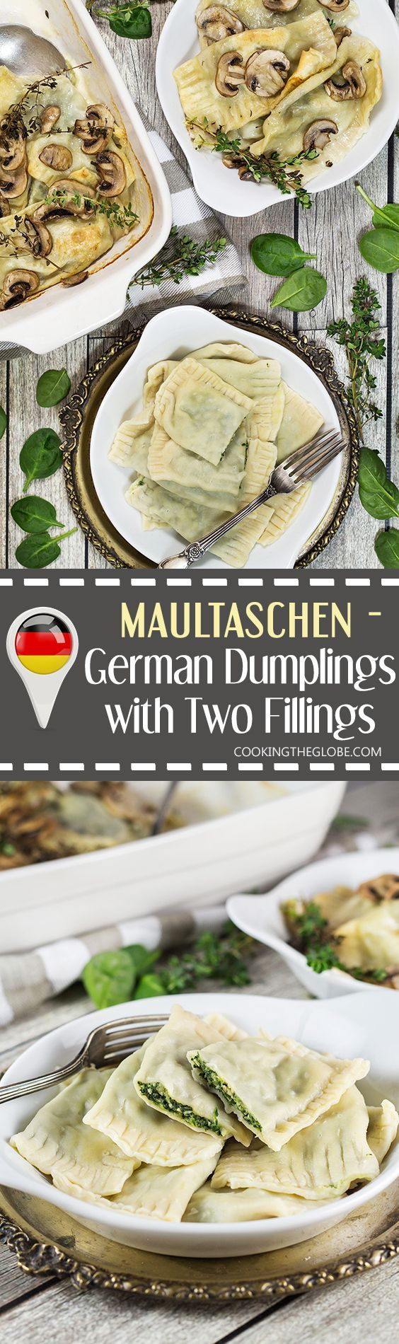 Maultaschen is a German version of Italian ravioli dumplings, only way bigger. This recipe features two different fillings: a traditional and a modern one! | http://cookingtheglobe.com