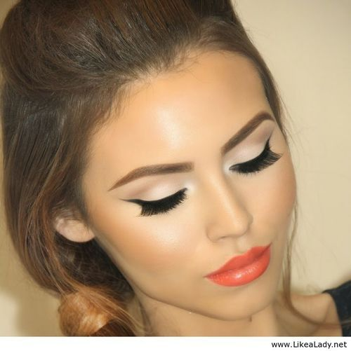Amazing orange lips and black line with nude eye makeup - LikeaLady.net