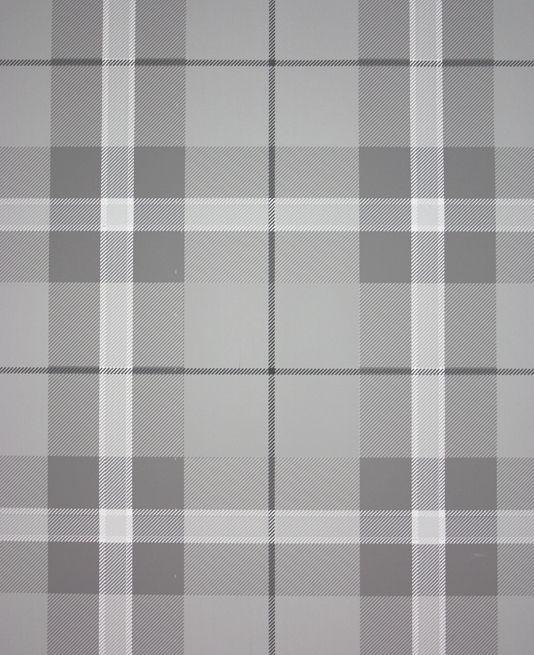 Winslow Plaid Wallpaper A tartan wallpaper in grey with thin cream stripes.