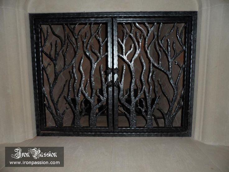 Custom Piece Tree Branch Fireplace Screen In Dallas