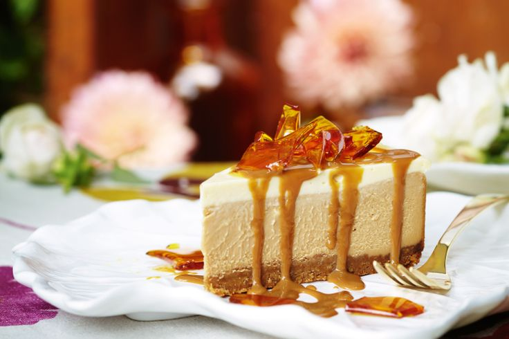 Dulce De Leche Cheesecake with Toffee Shards -  Celebrate the Easter long weekend with an afternoon garden party menu, then let your guests indulge in this decadent dessert.