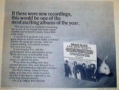 2 Lot Jefferson Airplane's Grace Slick Great Society 2LPs w RARE '71 Promo Ad | eBay