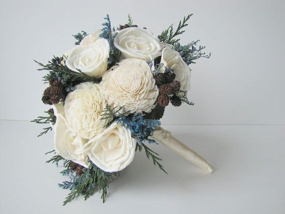 Blue and White Winter Bridal Bouquet  Blue by TheBackyardGardener
