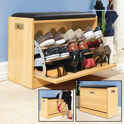 Wooden Shoe Storage Bench w/ Seat Cushion in 2019 Shoe