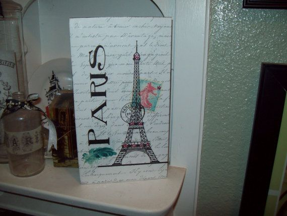 Large Eiffel Tower Block Shelf Sitter Sign Paris Decor,shabby Chic,Paris  Bedroom Decor
