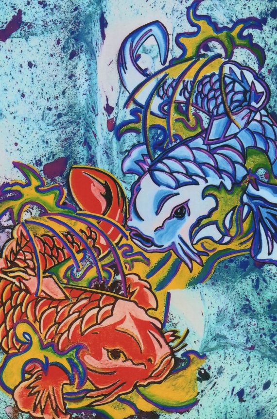 712 best images about deadhead art alliance on for Koi fish art print