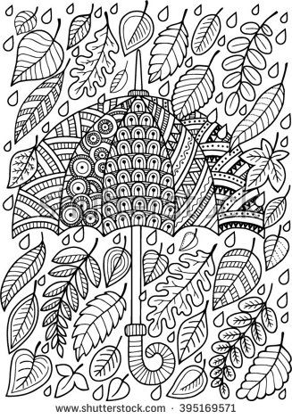Umbrella and Leaves doodle coloring page for adult. I love Autumn.