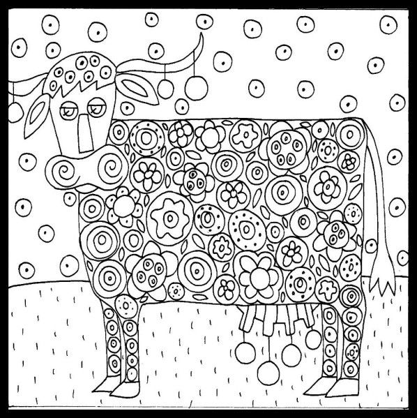 coloriage vache, coloriage animaux, vache fleur,