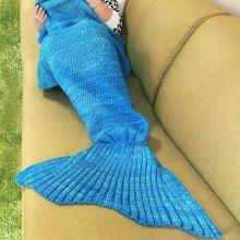 Chic Knitted Women's Blue Fishtail Blanket