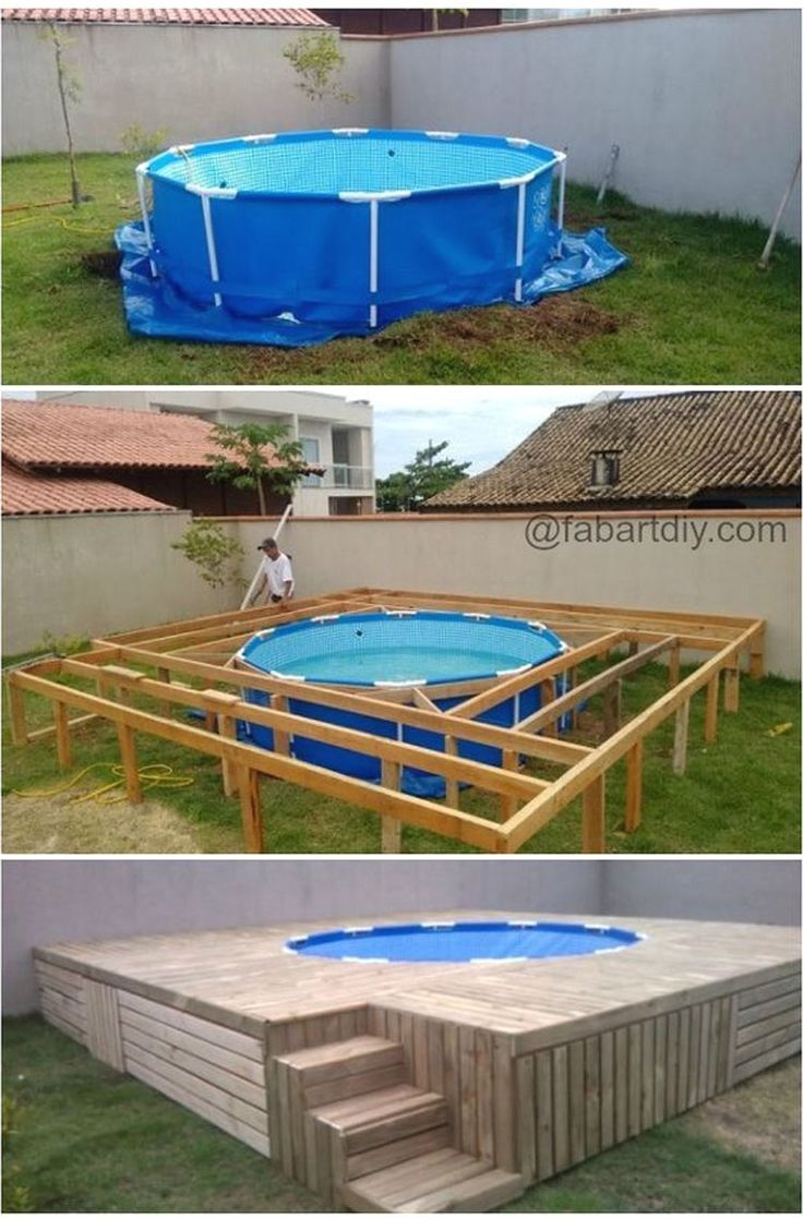 Poolumrandung Holz Selber Bauen | Pool-Terrasse in 2019 | Swimming ...