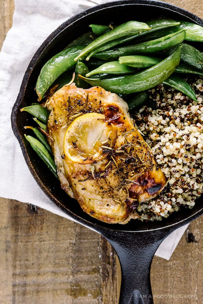 super easy lemon rosemary roasted chicken thighs with sugar snap peas and quinoa