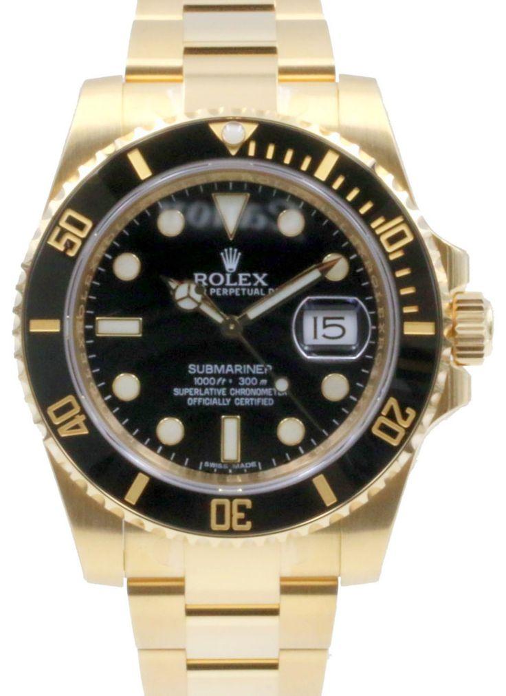 Rolex Submariner 116618LN Ceramic Black 40mm Solid 18k 116618 Yellow Gold Date BRAND NEW 2016