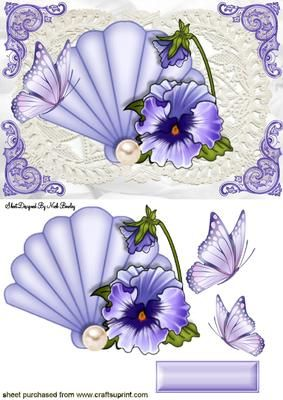 FAN WITH PEARL AND PURPLE PANSIES ON LACE on Craftsuprint designed by Nick Bowley - FAN WITH PEARL AND PURPLE PANSIES ON LACE, Makes a pretty card. lots of other pansies to see - Now available for download!