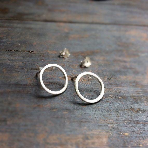 Sterling silver circle earrings, silver post earrings, minimalist earrings, geometric earrings, contemporary modern earrings
