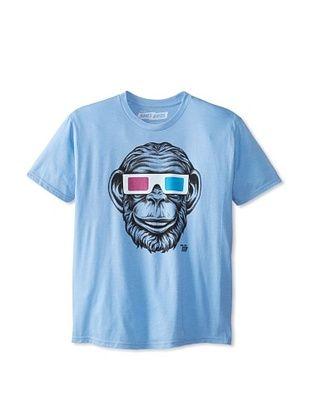 42% OFF Ames Bros Men's 3D Monkey Crew Neck T-Shirt (Light Blue Heather)