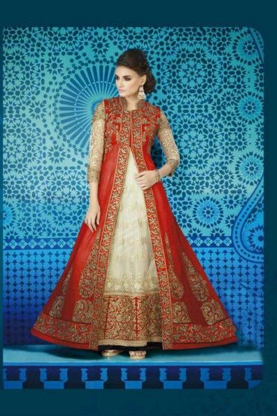 #Off #white & #Red #Embroidered #Net & #Georgette #Anarkali Suit Online #Shopping. Contact Us: +91-7623989000 Email: support@thankar.com