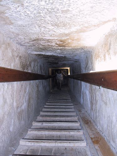 Inside View from The Great Pyramid of Giza , also called Khufu's Pyramid or the Pyramid of Khufu, and Pyramid of Cheops, Cairo, Egypt