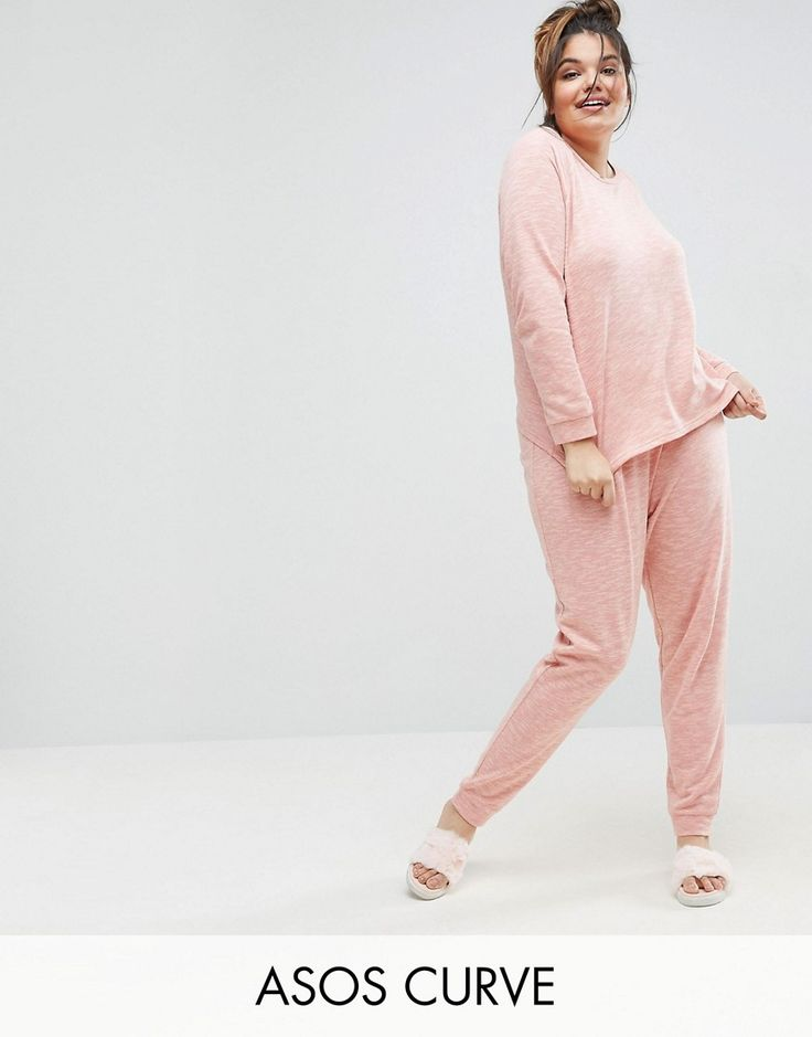 Buy it now. ASOS CURVE LOUNGE Sweat & Jogger Set - Red. Plus-size pyjamas by ASOS CURVE, Soft-touch jersey, Space-dye design, Crew neck, Raglan sleeves, Trouser bottoms, Elasticated waist, Fitted trims, Machine wash, 64% Polyester, 36% Cotton, Our model wears a UK 18/EU 46/US 14 and is 180cm/5'11 tall. Say goodbye to awkward-fitting plus-size fashion with our ASOS CURVE collection. Giving shout-outs to denim, occasionwear and jumpsuits, our London-based design team nail your new-season…