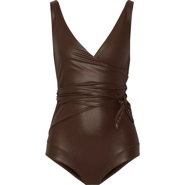 Lisa Marie Fernandez Dree Louise glossed wrap swimsuit ($430) ❤ liked on Polyvore featuring swimwear, one-piece swimsuits, swimsuit, dark brown, long bathing suits, lisa marie fernandez swimwear, long swimsuits, v neck swimsuit and swim suits