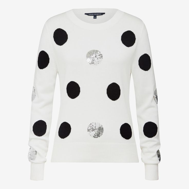Add sparkle to your knitwear collection with the Sequin Spot Knit.  Featured in a classic monochrome palette with silver sequin spots, it?s the perfect way to do weekend warmth a little differently this winter. 60% VISCOSE 40% COTTON, Cold Hand Wash