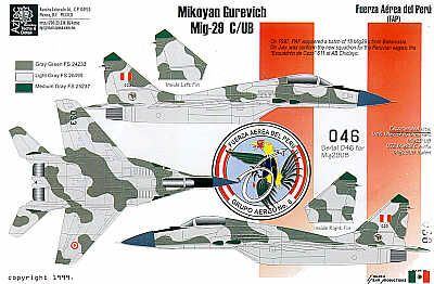 Peruvian Air Force Part 1. (5) MiG-29C No033/UB No 046, Mil-24 Hind 659 with shark mouth, Mirage 2000P 064/ DP 193 sand scheme; MBB Bo-105