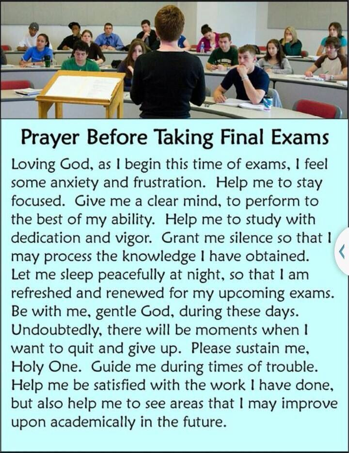 Prayer before final exams
