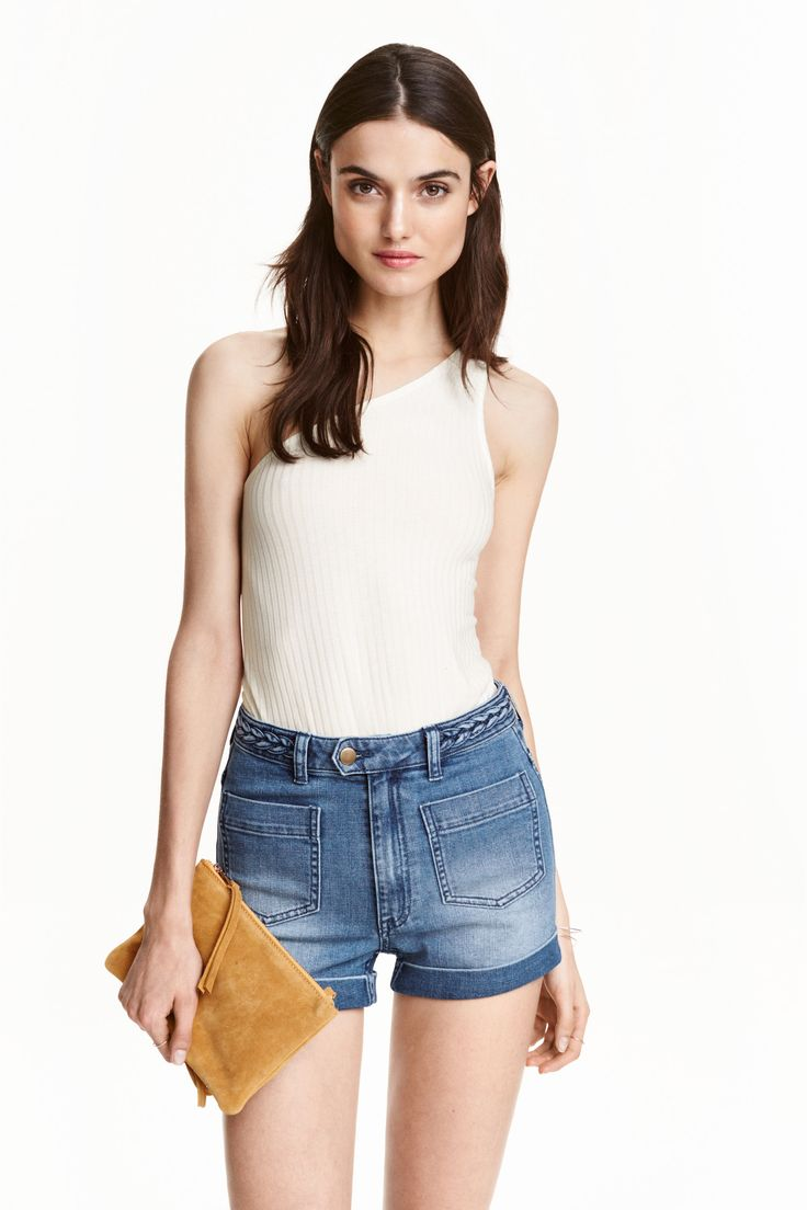 One-shoulder top: Fitted top in ribbed viscose jersey with one bare shoulder and a rounded hem.