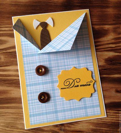 Открытки для мужчин, ручной работы. Ярмарка Мастеров - ручная работа. Купить Открытка для мужчин. Handmade. Голубой, открытка на день рождения