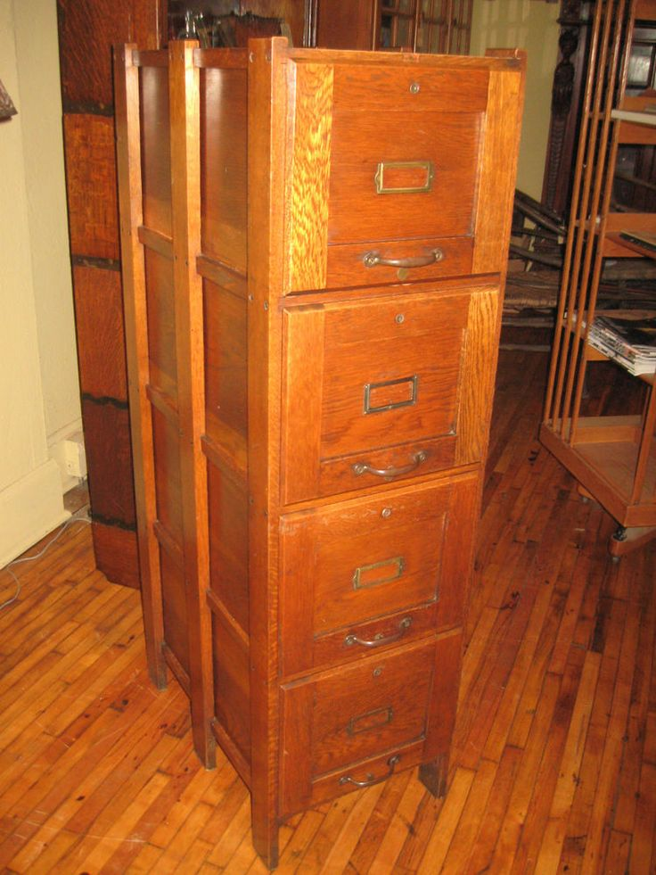 Antique Weis File Cabinet 4 Drawer Mission Oak 1910 S