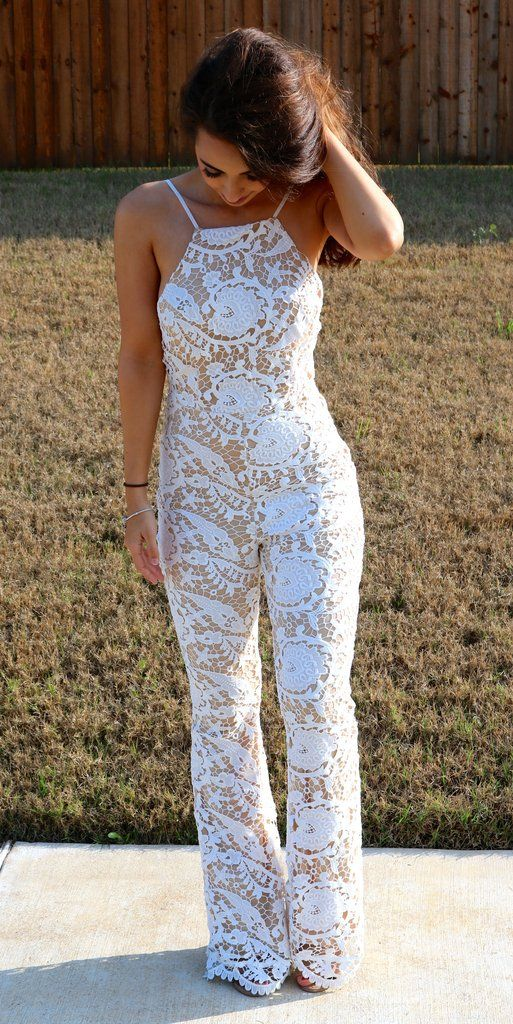 The cutest jumpsuit/playsuit ever is here just in time for spring! Our white lace crochet jumpsuit has a flare silhouette. Open back and sleeveless details for a one of a kind look with zipper back cl