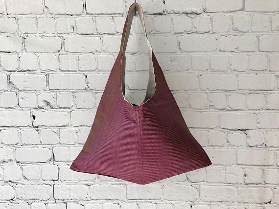 Maroon & Blue Silk Tote Bag, Over The Shoulder Bag, Boho Tote , Gift For Her, Casual Handbag, Womens Shoulder Bag, Hobo Handbag,Everyday Bag