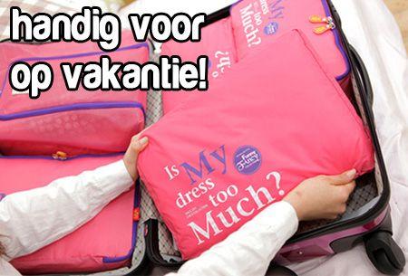 Een opgeruimde koffer met deze 5-delige bagage organizer t.w.v. €29,95 nu slechts €13,95! In 4 kleuren  #aanbieding #bagage #organizer  https://www.vouchervandaag.nl/aanbieding-voucher-koffer-organizer-tas-vakantie-reis-reizen