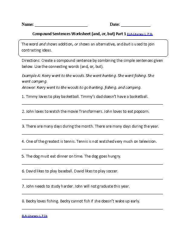 Printables Complex Sentences Worksheet 1000 images about compound sentences on pinterest language worksheet ela literacy l 7 1b worksheets by