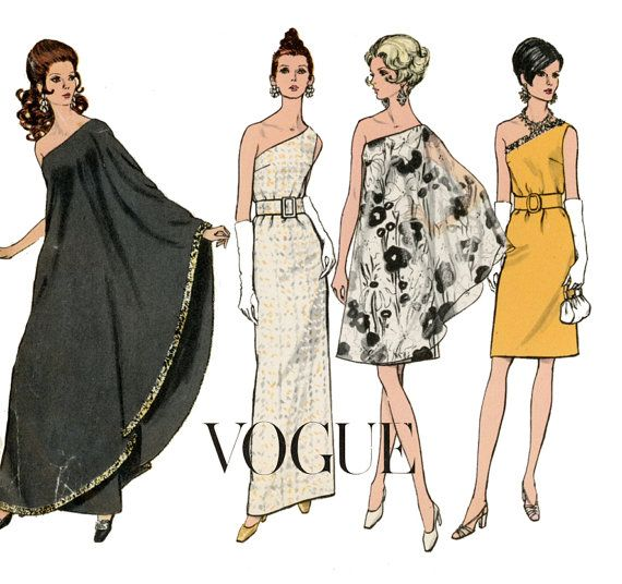 1960s Evening Dress Pattern Vogue 7528 Misses One Shoulder Formal or Knee Length with Drape RARE Womens Vintage Sewing Pattern Bust 36 on Etsy, Sold