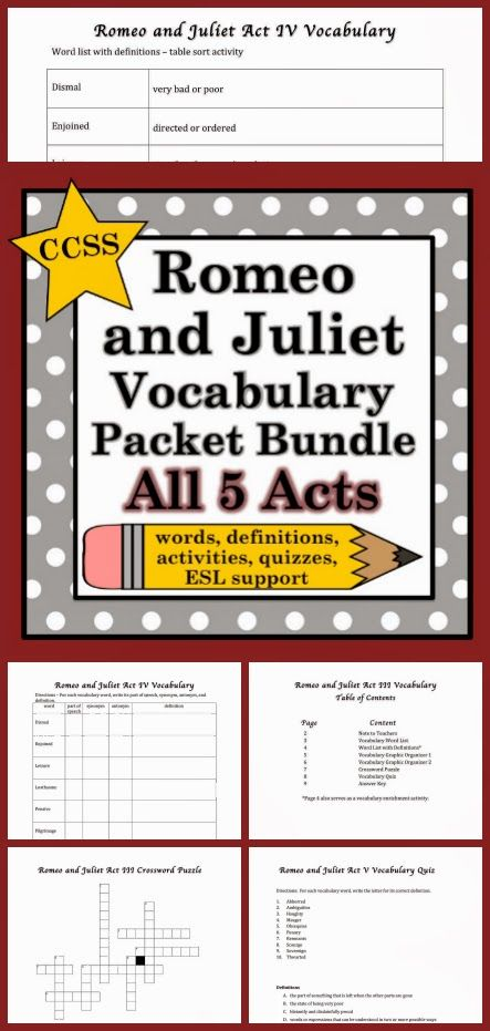 50 Vocabulary Words. Fun and Engaging Activities. Quizzes. Built-in differentiation for ESL students, struggling readers, younger readers, and every student in between. $ http://www.teacherspayteachers.com/Product/Romeo-and-Juliet-Vocabulary-Words-Activities-and-Quizzes-Bundle-1068532