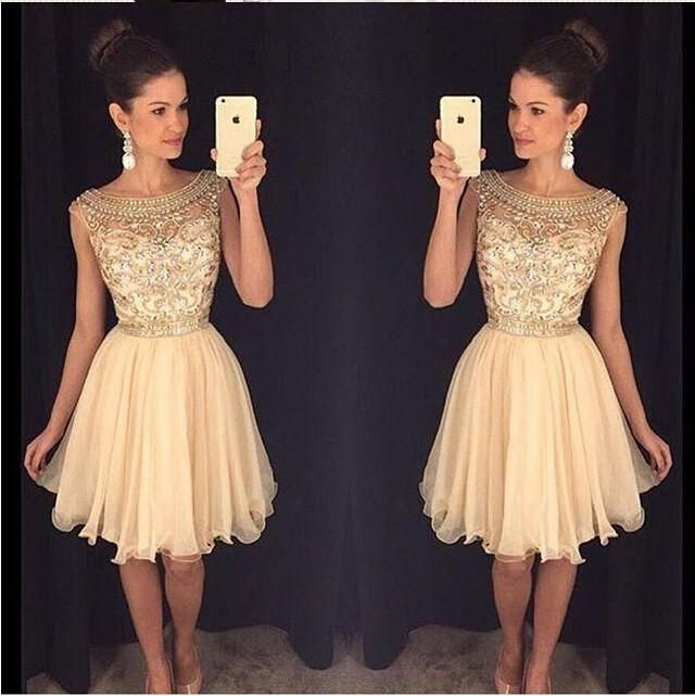 Beading Champagne Short Homecoming Dresses,Gorgeous Homecoming Dress For Teens