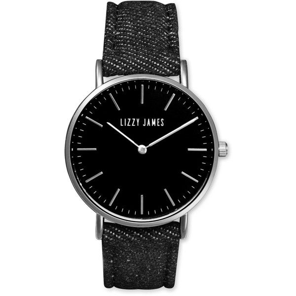 Lizzy James Timeless Lizzy Watch with Black Denim Band Watch for Women ($99) ❤ liked on Polyvore featuring jewelry, watches, denim jewelry, leather band watches, denim watches, lizzy james and lizzy james jewelry