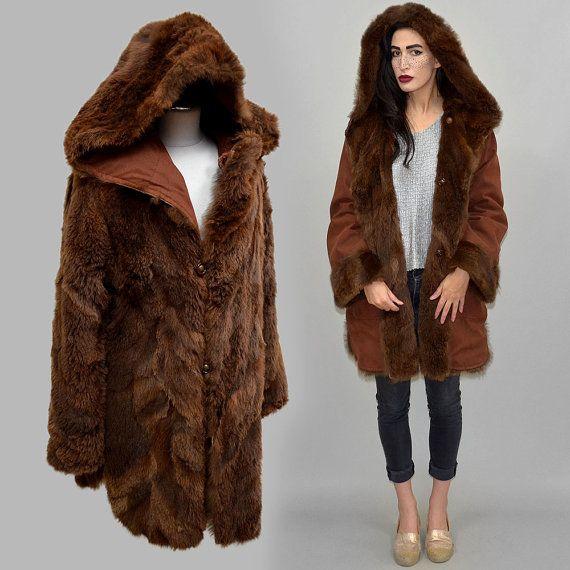 Tuscany REVERSIBLE Vintage ovejas piel Anorak Reversible invierno chaqueta Parka funcional manta lanuda cordero vestido cuello vuelto de cascada de los 70 M