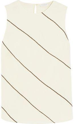 Brunello Cucinelli Chain-Trimmed Stretch Silk-Blend Crepe Top