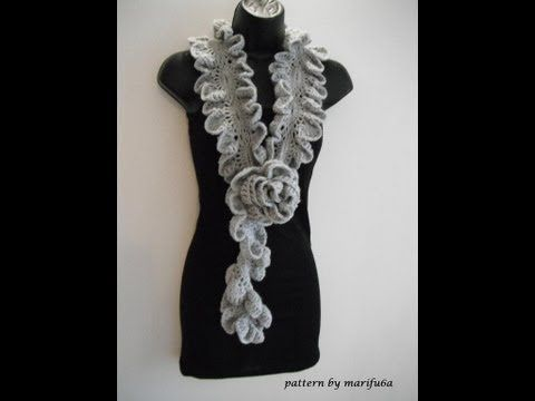 how to Crochet ruffle rose scarf free pattern tutorial for beginners. beautiful pattern <3