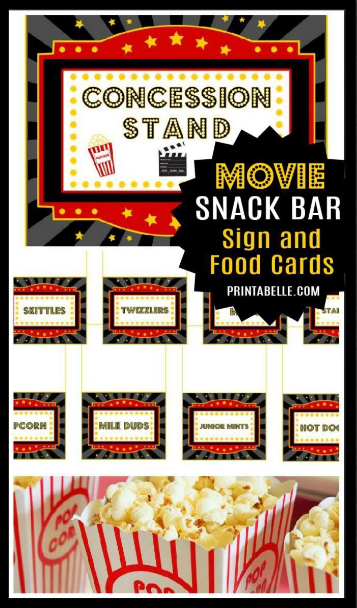 Movie Food Cards And Free Sign Movie Night Birthday Party Movie