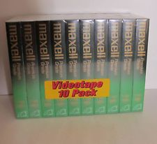 10 Pack New Maxell Premium Grade 8 Hours T-160 VHS Blank Videocassette Tapes