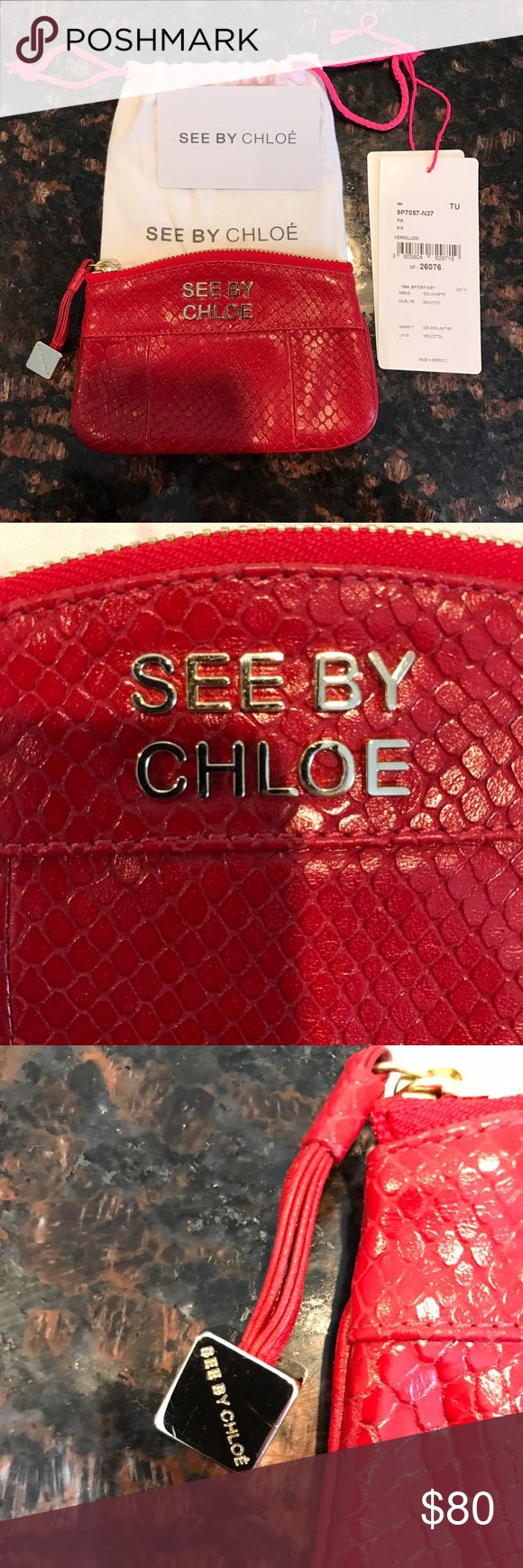 "See by Chloe wallet Beautiful Red leather, snake print, See by Chloe wallet. 6""w x 4""h NWT. Comes with tags and dust bag. See by Chloe Bags Wallets"