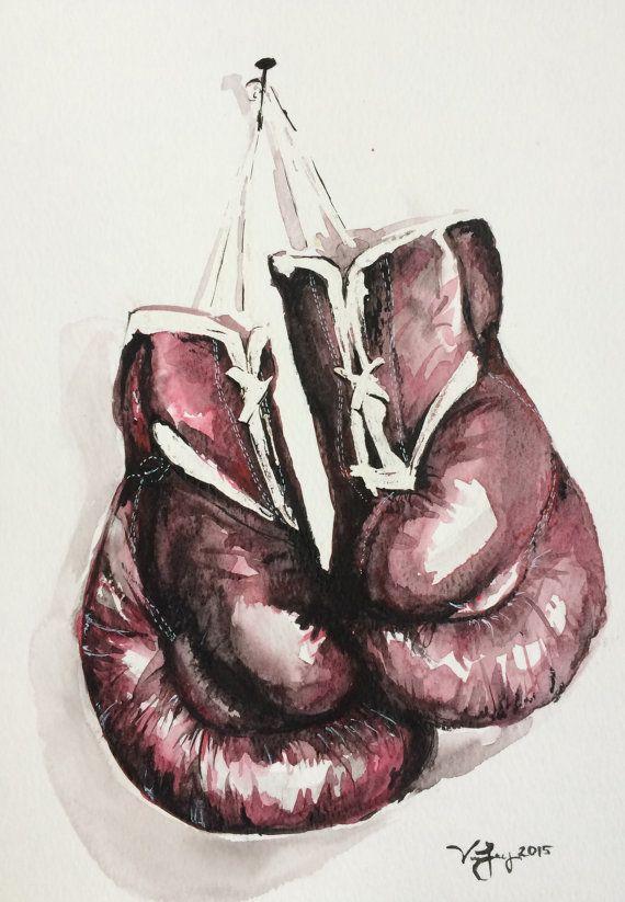 ORIGINAL Boxing Gloves Watercolor Painting by EbbAndFlowWatercolor