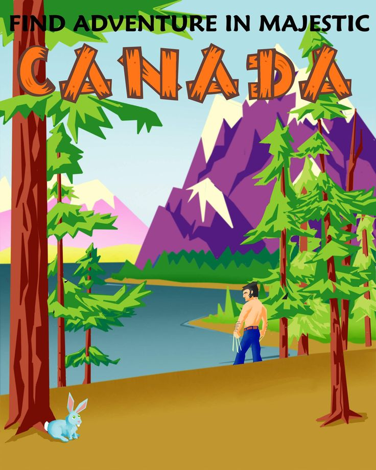 Two of my favorite things - Canada and X-Men! Whoo!  Wolverine Canada Vintage Travel Poster. $17.00, via Etsy.
