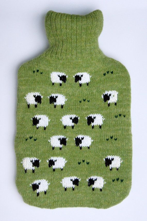 Knitted hot water bottle cover with grazing by LindaAnnBingham